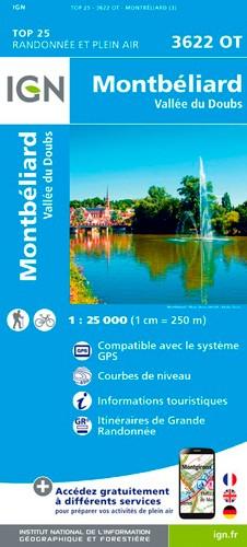 IGN Montbéliard-Vallée Du Doubs - Carte topographique
