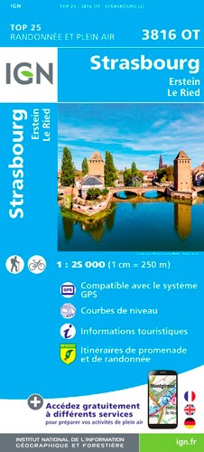 IGN Strasbourg.Erstein.Le Ried - Carte topographique