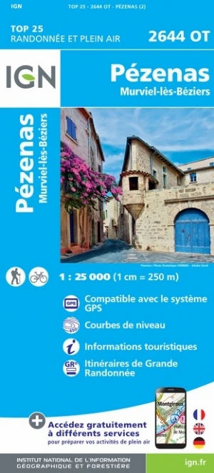 IGN Pézenas / Murviel-Lès-Béziers - Carte topographique