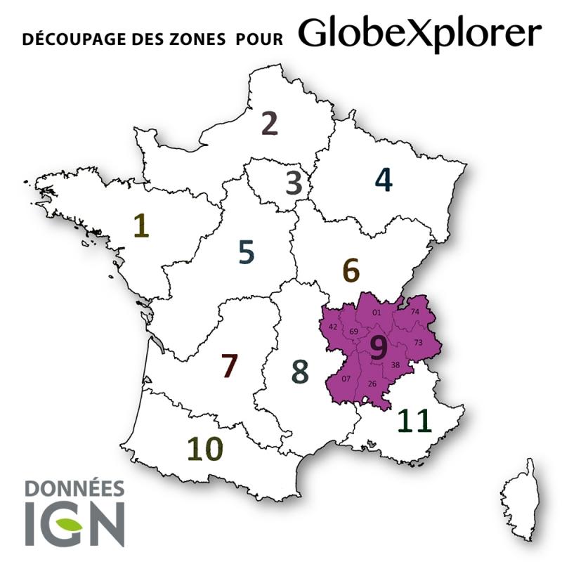 Globexplorer Carte Topographique de la zone 9 - départements 42, 69, 01, 74, 38, 73, 07 et 26 - 1 : 25 000