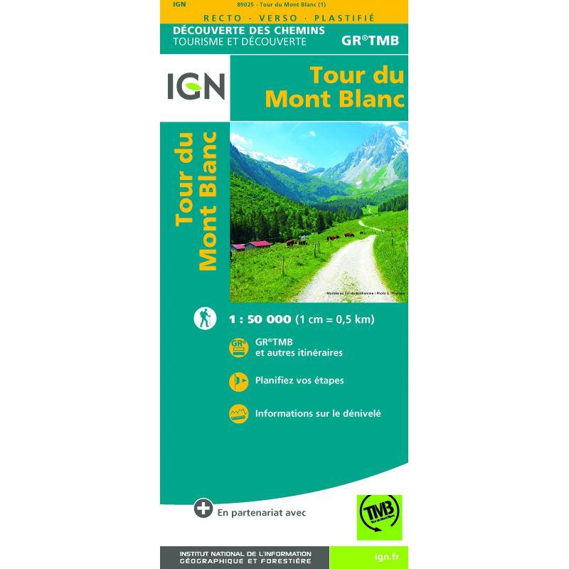 IGN Tour du Mont Blanc - Carte topographique