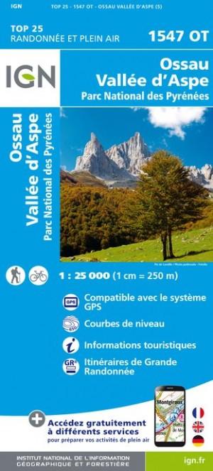 IGN Ossau / Vallée D'Aspe / Parc National des Pyrénées - Carte topographique