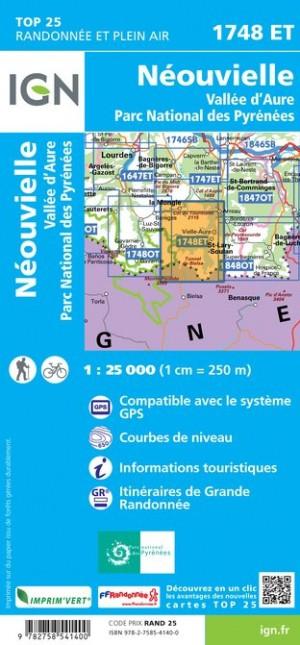 IGN Néouvielle / Vallée D'Aure / Parc national des Pyrénées - Carte topographique
