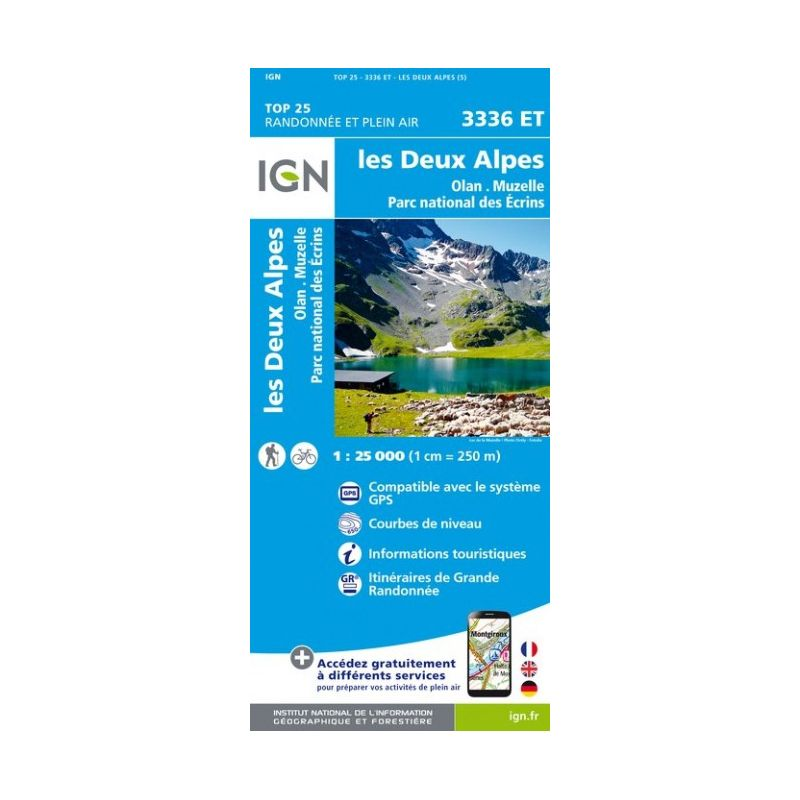 IGN Les Deux Alpes / Olan / Muzelle / Parc National des Ecrins - Carte topographique