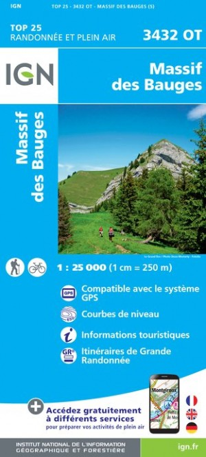 IGN Massif des Bauges - Carte topographique