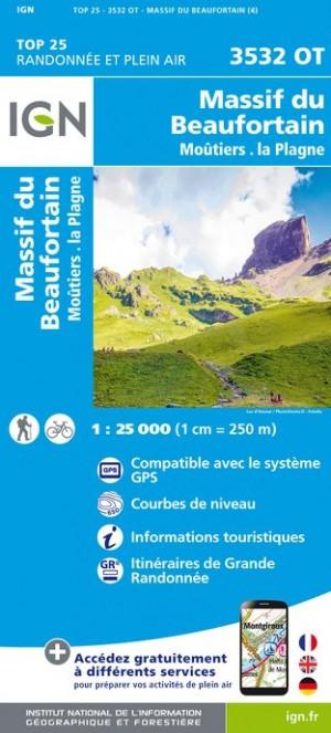 IGN Massif du Beaufortain / Moûtiers / La Plagne - Carte topographique