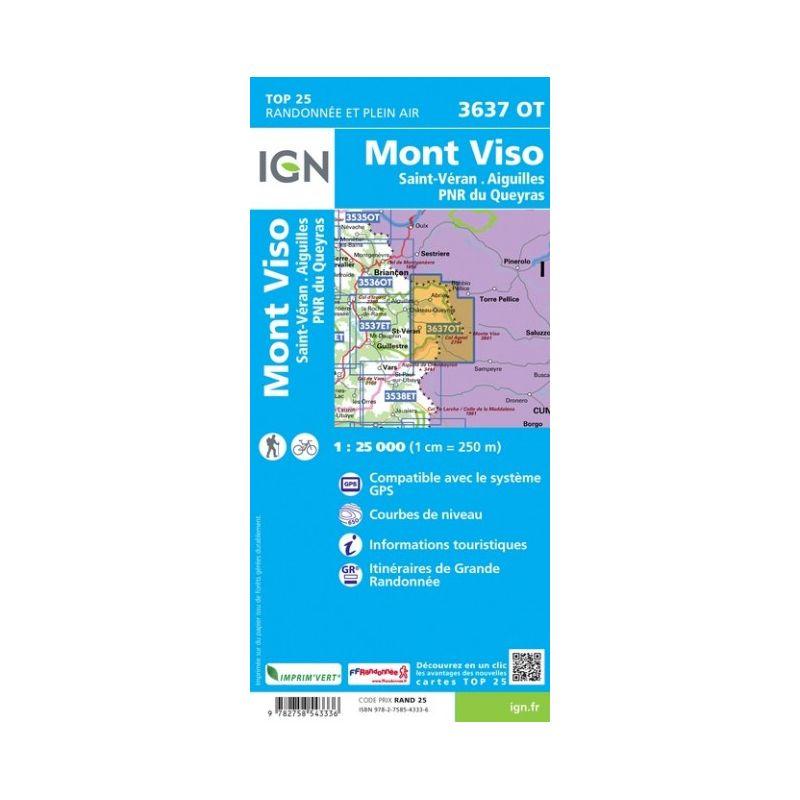 IGN Mont Viso / Saint-Veran Aiguilles / PNR du Queyras - Carte topographique