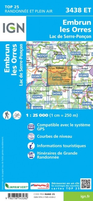 IGN Embrun / Les Orres / Lac de Serre-Poncon - Carte topographique